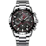 Mens Stainless Steel Black Classic Luxury Casual Watches With Multifunctions Chronograph Sport Watches Waterproof 30M Business Fashion Quartz Wrist Watch For Men