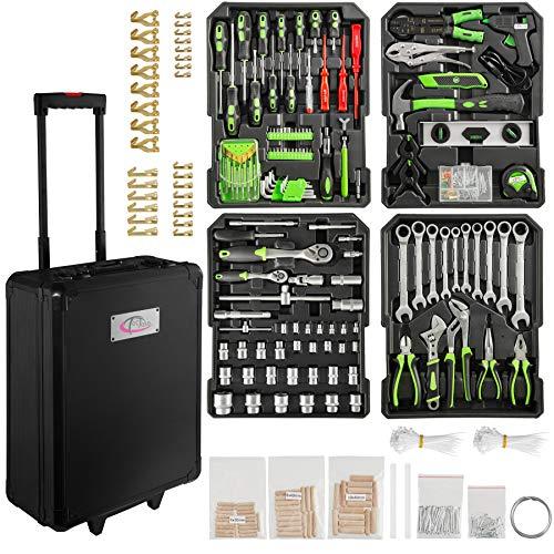 TecTake 899 teiliger Alu Werkzeugkoffer Trolley mit Werkzeug gefüllt / 4 Ebenen/Teleskopgriff/schwarz