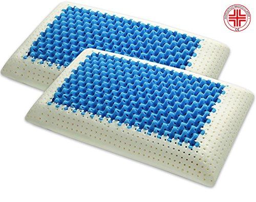 Marcapiuma - Coppia di Cuscini in Memory - Blue Air Massage - Ultra Traspirante Effetto Massaggio...