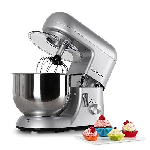 Klarsteinstein Bella Argentea - robot da cucina, mixer, impastatrice, 1200 W, 6 PS, 5,2 L, sistema...