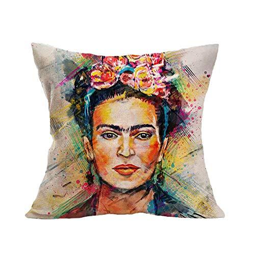 FEIRAN 3D Impreso Frida Kahlo Autorretrato Funda de Almohada de Lino Funda de cojín 12 45X45cm