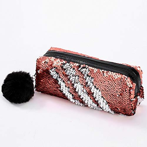 Flash cosmetico borsa spirale di lustrini reversibili portatili a due colori scatola di matita per...
