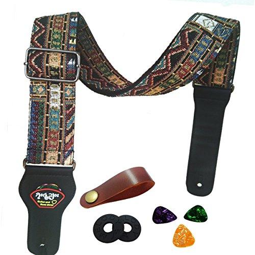 Tracolla per chitarra Cinturino basso elettrico chitarra acustica stile vintage regolabile con...
