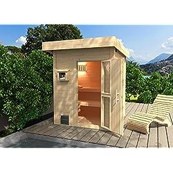 Weka 533.2020.80000 Premium-Saunahaus Naantali mit Flachdach, Natur Unbehandelt, 248 x 211 x 253 cm