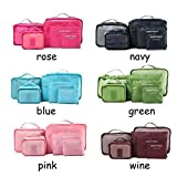 Custodia da viaggio organizer clothes Storage Bags PACKING Cube 6pcs un set, Pink, as description