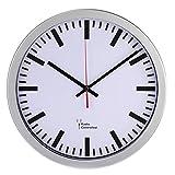 Hama groß Funk Bahnhof Wanduhr, DCF-Funkuhr, automatische Zeiteinstellung, 30 cm Durchmesser, silber