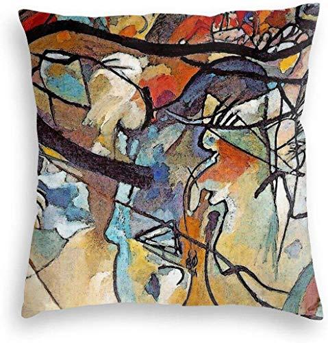 YPPDPP Wassily Kandinsky Composition 5 - Abstract Art Velvet Fodera per Cuscino Pillow Cases Cuscini Federa Throw Pillow Cover