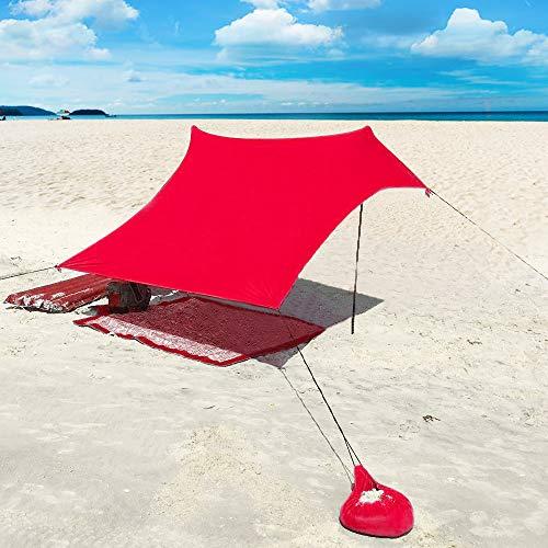 XISHUAI Strandzelt mit Sand Anker - Portable Strandmuschel uv Schutz mit 100{b0a8f53696a88c553c3d84f877e3600d60bf4bb7f22e00f0b5d9582f9781e780} Lycra - Sonnensegel für 2-4 Personen 210 X 210 cm für Strand Camping Wandern Angeln Picknick (Rot)