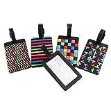 Newland Etiquetas del identificador de la maleta del bolso del recorrido de los aviones de la etiqueta del equipaje del PVC de 5 PC de (5 stytle colors)