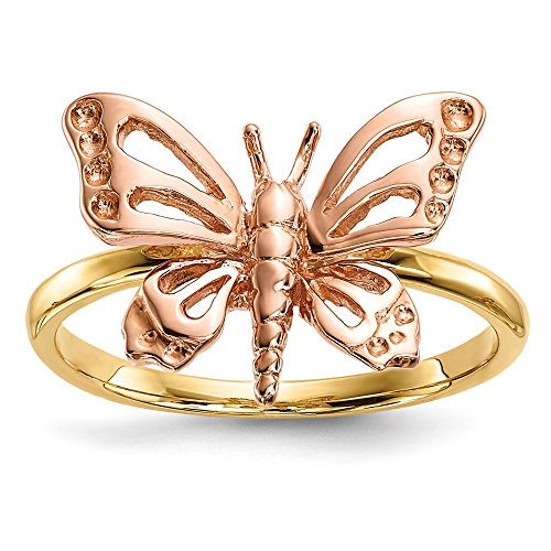 DIAMOND2DEAL INC Anillo de Oro Amarillo y Rosa de 14 Quilates con diseño de Mariposa