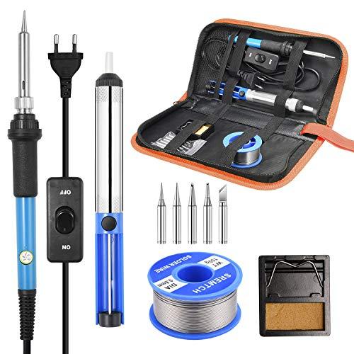 SREMTCH Kit de soldador, soldador de estaño de 60 W y 220 V de temperatura ajustable, 5 puntas diferentes, soporte, alambre de soldar para varios usos y reparaciones