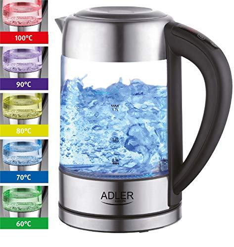 Glas Wasserkocher Edelstahl mit Temperaturwahl | Teekocher | 100{4e76ec19cf3b3cb9ac20a165fc49926e45b99db1cf26c27a1ff9cfd2ae962946} BPA FREI |  Warmhaltefunktion | LED Beleuchtung im Farbwechsel | Temperatureinstellung (60°C-100°C) | Glaswasserkocher | 1,7 Liter