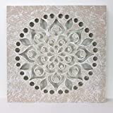 -Mandala de Pared, Fabricada artesanalmente en España- tamaño 50X50 cm, Mandala 3D Cuadrada Pintado a Mano- Modelo Mosaico 103 (Piedra)