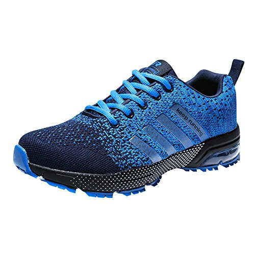 Zapatillas Deporte Hombre Zapatos para Correr Athletic Cordones Air Cushion 3cm Running Sports Sneakers Negro Negro-Blanco Azul Rojo Azul 42