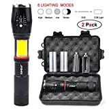 Led lenser with Magnetic Base 6 Modes Torches led Super Bright Torch 1000 lumens,Zoomable,IPX6 Waterproof Handheld Tactical Flashlight Torches with Hidden COB Lighting for Camping,Hiking,Emergency