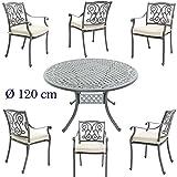 Made for us Aluguss Gartenmöbel Set, Gartenmöbelgarnitur bestehend aus Gartentisch Ø 120 cm mit 6 Gartenstühlen (Tisch, rund Ø120 cm + 6 Gartenstühle)