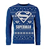 London Co. DC Superman Logo Blue Unisex Christmas Knitted Jumper Large
