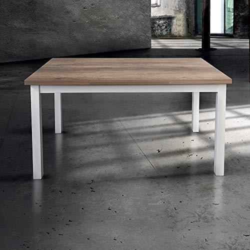 Milani Home Srls Tavolo Da Pranzo Moderno Di Design Allungabile Cm 70 X 110150190 Struttura Bianca Piano Tortora Per Sala Da Pranzo Ristorante