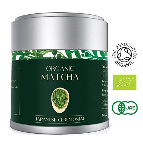 Té Verde Matcha - Orgánico 30g   Premio Ceremonial Japonés   Bio Orgánico certificado por JAS Japan EU Organic   Producto de Uji Kyoto Japan   Mejor para la pérdida de peso, Vegan & Healthy   Lot M13