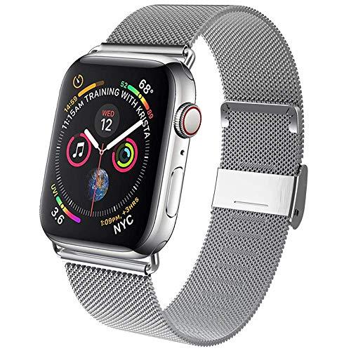INZAKI Compatible Cinturino per Apple Watch Cinturino 38mm 40mm 42mm 44mm, Cinturini di Ricambio in Acciaio Inossidabile Loop con Magnete Compatibile con IWatch Series 5/4/3/2/1