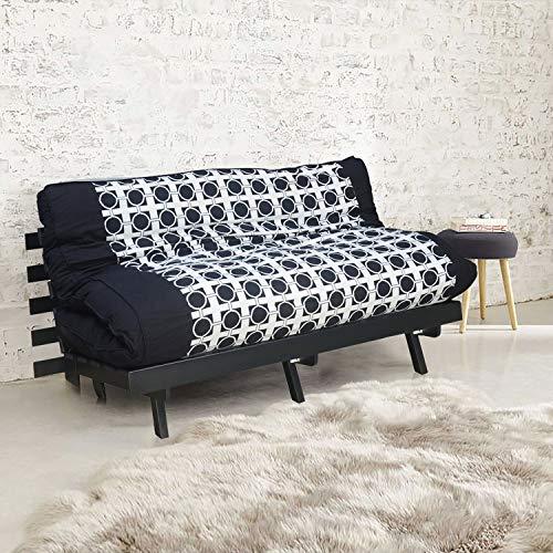 @home by Nilkamal Double Futon Sofa Cum Bed (Dark Black)
