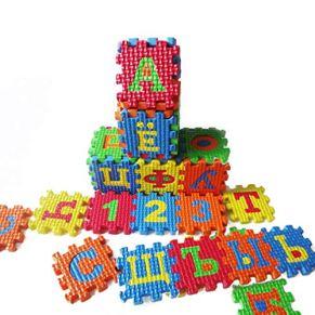 Jixing - Alfombra de Espuma Suave para niños y bebés, con diseño de Alfabeto Ruso de 26 Piezas de Cada baldosa de 20 cm x 14,8 cm de Grosor con Superficie Texturizada