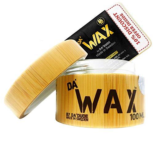 Da'Dude Da'Wax Cera Para el Pelo Hombre - Cera de Peinado Muy Fuerte - Acabado Mate - El Mejor Producto de Peluquería Profesional - Tina de Madera y Caja de Regalo 100 ml