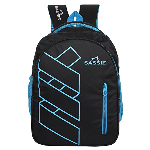 Sassie Polyester 41 L Black Blue School and Laptop Bag with 3 Large Compartments 1