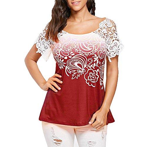 LANSKIRT_Blusa Camisas Mujer Elegantes Mujer Blusas para Mujer Elegantes Verano Tops de Costura de Encaje Blusa Casual para Mujer con Estampado Cuello Redondo T-Shirt Top Corto