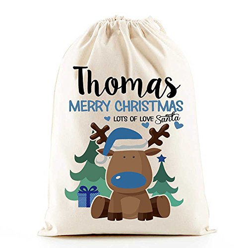 Personalised Santa Sacks (Reindeer Boys Christmas)