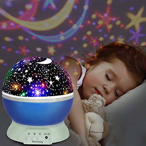 Stelle Lampada, UBEGOOD Proiettore Stelle Luce Notturna per Bambini con 4 Colori Lampadine LED...