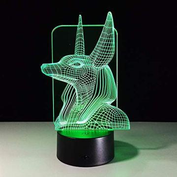 Xzfddn 7 Colores Cambian Egipto, Ilusión 3D, Cambio De Color, Luz De Escritorio Con Toque Negro, Decoración De Base, Luz Nocturna 4
