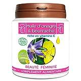 Complexe 2 Huiles   Onagre Bio   Bourrache Bio   Vitamine E   200 capsules   Beauté De La Peau - Féminité   504,5mg   dosage 100% naturel  ...