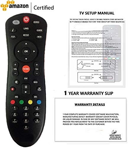 DISH TV DTH Genuine Quality Universal SD/HD Recording Remote With 1 Year Warranty (Also Works with all TV) ** CHECK IMAGES & DESCRIPTION BEFORE PURCHASE**