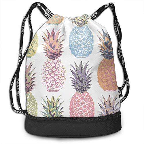 Zaini e borse,Zaini casual,Borse da palestra, Gym Drawstring Sports Bag Simple Quick Dry Bundle Backpack Pineapple