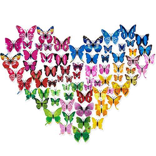3D Pegatinas de Mariposas Decoraciones, Diealles 72 Pcs Adhesivos 3D Decorativos para Pared, Diseño de Mariposas, 6 Colores (Azul/Rosa/Rojo/Rosa Rojo/Amarillo/Verde)