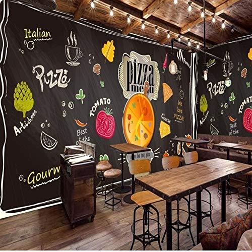 Pbbzl Personalizzato 3D Murale Gesso Dipinto Lavagna Nera Cartone Animato Ristorante Pizzeria Sfondo...