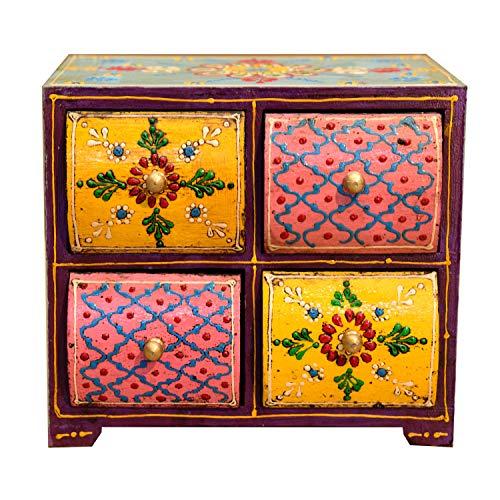 Casa Moro Orientalische Mini-Kommode handbemalte Holz-Kästchen Ashanti mit 4 Schubladen bunt   H 18 x B 20 x T 15 cm   Die Originelle Geschenk-Idee für die Dame Freundin Frau zum Muttertag   MA25-07