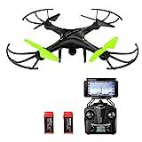 Potensic Drone con Telecamera HD, Avión con WiFi 2.4GHz FPV, RC Quadcopter Videocamara RTF Suspension de Altura , Modo sin Cabeza, Flip 3D, Vuelo de Trayectoria, 2 Baterías, U42W Negro y Verde