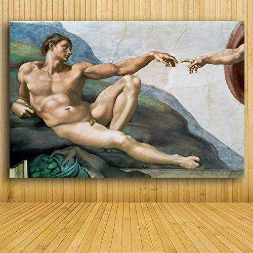 WSWWYLe Stampe religiose della Mano di Dio Famosi Dipinti murali La Tela di Michael Angel Copia Una...