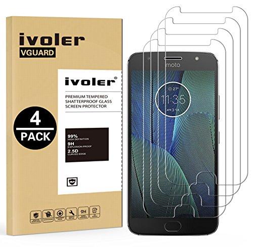 iVoler [4 Unidades] Protector de Pantalla para Motorola Moto G5s Plus, Cristal Vidrio Templado Premium