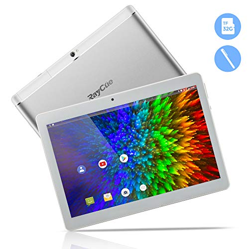 10,1 Zoll 3G Android Tablet, Android 8,1 Quad Core CPU, 32 GB ROM, 2 GB RAM, IPS HD (1280 x 800), entsperrter Telefonanruf Phablet PC mit Zwei SIM-Kartensteckplätzen, GPS, WLAN Tablet Pad (Silber)