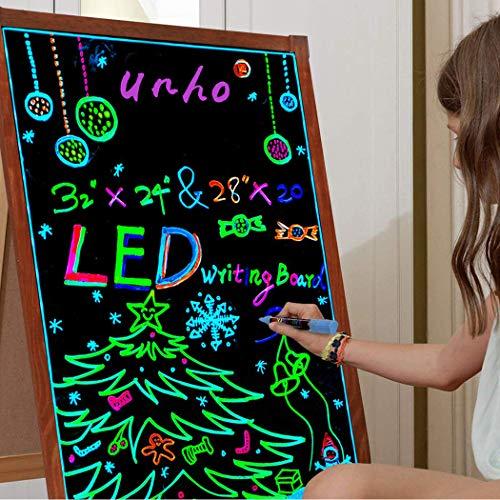 UNHO - Lavagna per messaggi a LED lampeggiante, cancellabile, con luce al neon, per scrivere...