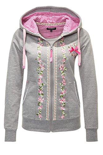 Hachiro Damen Sweatjacke Hoodie Sweatshirt Pullover (L, Light Grey Melange)