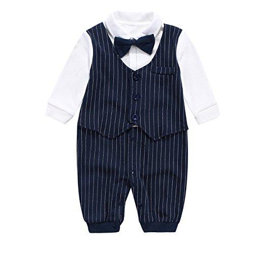 Fairy Baby Baby Outfits Langarm Strampler Jungen Smoking Baby Baumwolle Gentleman Outfit Bowknot Weihnachts/Taufstrampler Kleidung, 80(9-12 Monate), Navy Blau Streifen