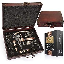 YOBANSA Antica scatola di legno Accessori per il vino Set regalo, Set per l'apertura del vino, Cavatappi per vino, Tappo del vino, Versatore di vino(9 set 0D)