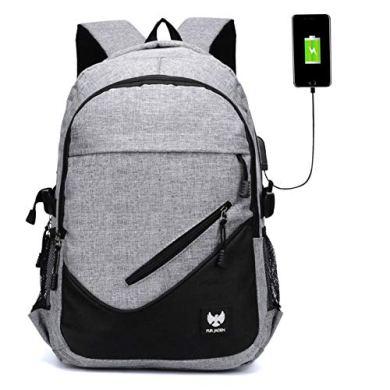 Fur Jaden Anti Theft Waterproof USB Charging 25 Ltrs Grey Casual Backpack 27