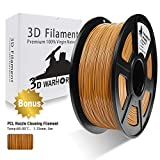 PLA Filament Coffee(Brown), 3D Hero PLA Filament 1.75mm,PLA 3D Printer Filament, Dimensional Accuracy +/- 0.02 mm, 2.2 LBS(1KG),1.75mm Filament, Bonus with 5M PCL Nozzle Cleaning Filament