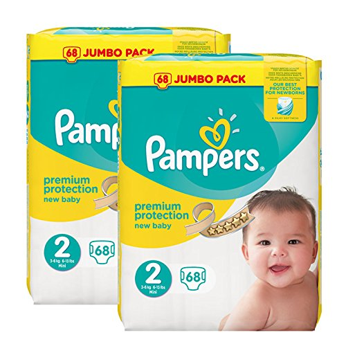 Pampers New Baby Nappies Jumbo Pack, taglia 2, 2 x 68 pezzi
