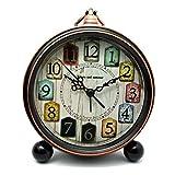 FOKOM Lautlos Antik Tischuhr Standuhr Uhr Wecker Table Clock Vintage Wanduhr mit Haken